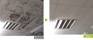 カビ汚れのスーパーマーケット天井を環境対応型特殊洗浄G-Eco工法で施工