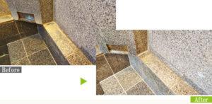 水垢汚れの温浴施設石材を環境対応型特殊洗浄G-Eco工法で施工