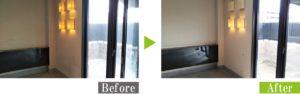 カビ汚れの店舗塗り壁を環境対応型特殊洗浄G-Eco工法で施工