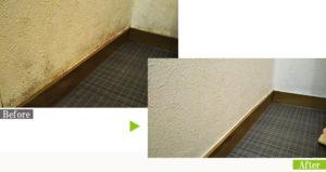 カビ汚れのクロス(壁紙)を環境対応型特殊洗浄G-Eco工法で施工
