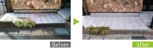 水垢・サビ汚れの店舗エントランスタイル床を環境対応型特殊洗浄G-Eco工法で施工