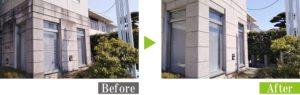カビ汚れのコンクリート外壁を安心安全な環境対応型特殊洗浄G-Eco工法で施工