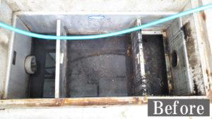 飲食店や工場のグリストラップ(油水分離槽)洗浄前
