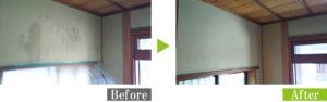 聚楽壁のカビを安心安全な環境対応型特殊洗浄G-Eco工法でカビ取り・防カビ施工