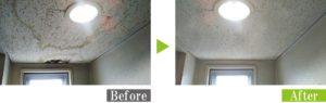 天井に発生したカビを環境対応型特殊洗浄G-Eco工法で除カビ施工