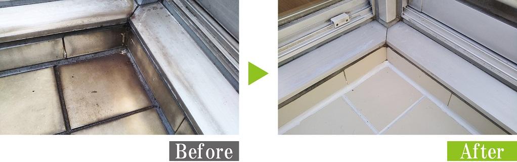 環境対応型特殊洗浄G-Eco工法で水垢汚れのタイルを施工