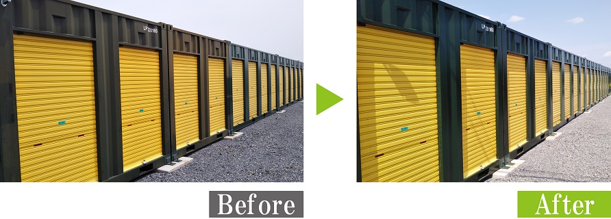 G-Eco工法で貸コンテナの劣化塗装再生施工
