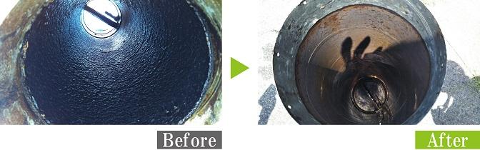 環境対応型特殊洗浄G-Eco工法で焼き肉店の排気ダクト洗浄施工